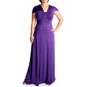 Evanese Women's Plus Size Gathered Shoulder Bands and Slim Center Long Dress - ellemore.com