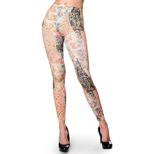 Asian Floral Pattern Flower Print Lady Skinny Leggings Stretch Sexy Pencil Pants - ellemore.com