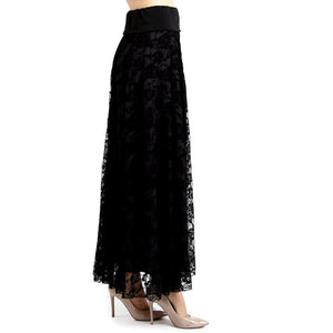 Evanese Women's Fold Over Wide Waist Band with Elastic Full Maxi Long Lace Skirt XL, Black