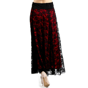 Evanese Women's Fold Over Wide Waist Band with Elastic Full Maxi Long Lace Skirt XS, Red