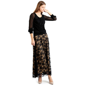 Evanese Women's Fold Over Wide Waist Band with Elastic Full Maxi Long Lace Skirt XS, Tan