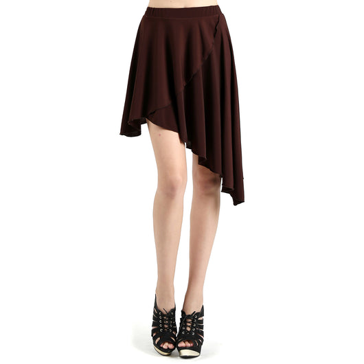 Evanese Women's Casual Asymmetrical Hi Low Contemporary Cocktail Turn Skirt S, Brown