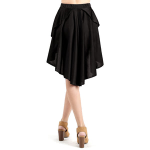 Evanese Women's Ice Tropical Asymmetrical Hi Lo Contemporary Cocktail Turn Skirt M, Black