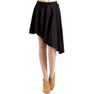 Evanese Women's Ice Tropical Asymmetrical Hi Lo Contemporary Cocktail Turn Skirt XL, Black