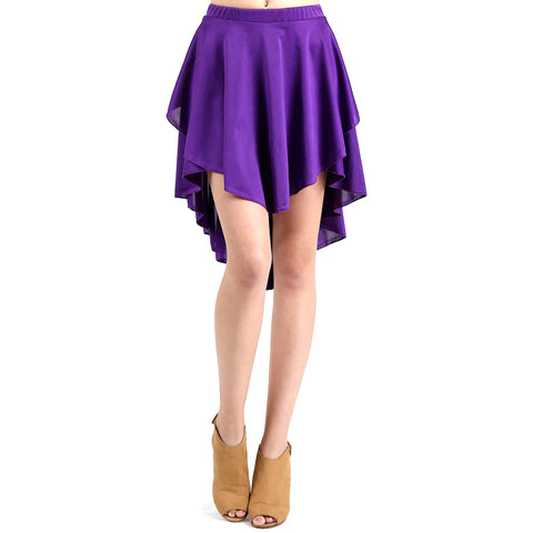 Evanese Women's Ice Tropical Asymmetrical Hi Lo Contemporary Cocktail Turn Skirt S, Purple
