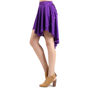 Evanese Women's Ice Tropical Asymmetrical Hi Lo Contemporary Cocktail Turn Skirt M, Purple