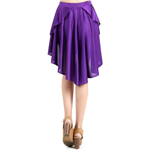 Evanese Women's Ice Tropical Asymmetrical Hi Lo Contemporary Cocktail Turn Skirt L, Purple