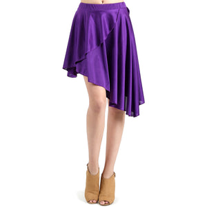 Evanese Women's Ice Tropical Asymmetrical Hi Lo Contemporary Cocktail Turn Skirt XL, Purple