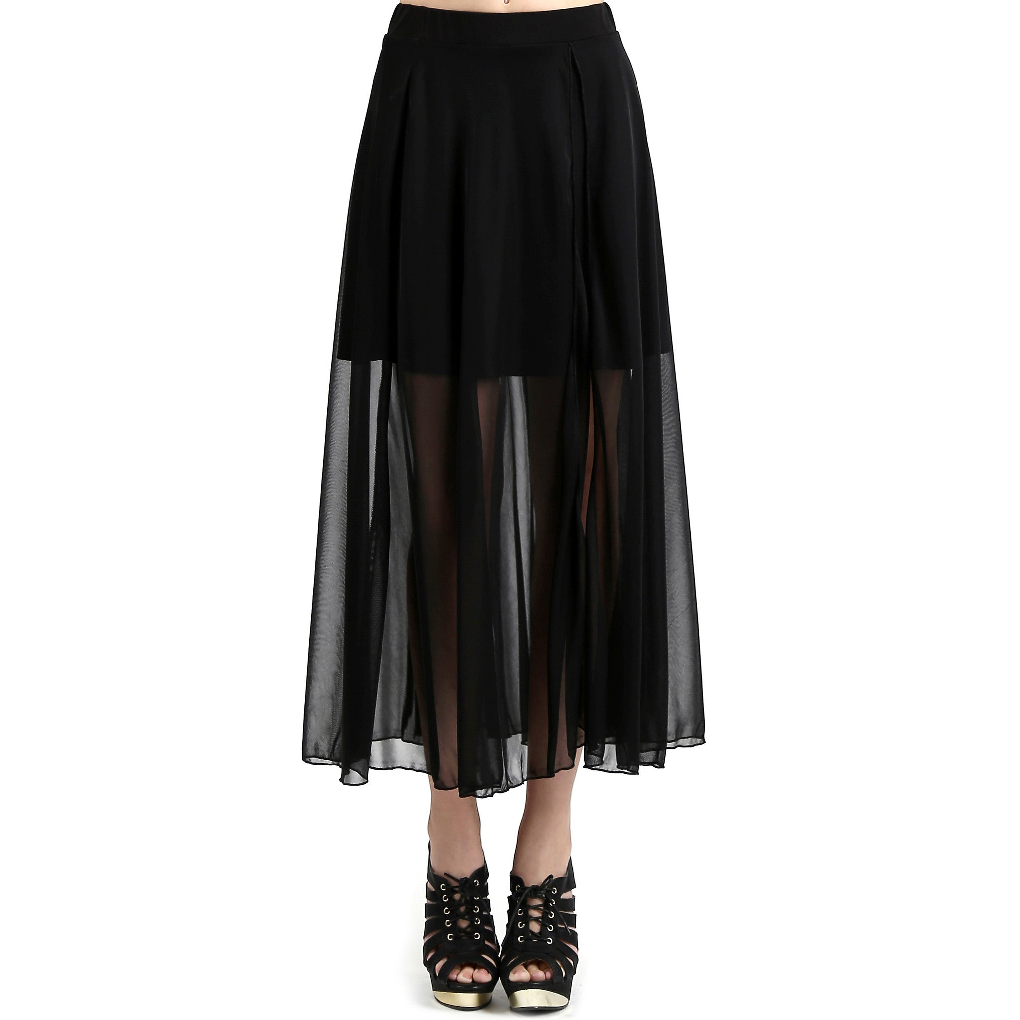 Evanese Women's Double Layered See Through Top Layer with Center Slit Long Skirt S, Black