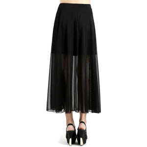 Evanese Women's Double Layered See Through Top Layer with Center Slit Long Skirt XL, Black