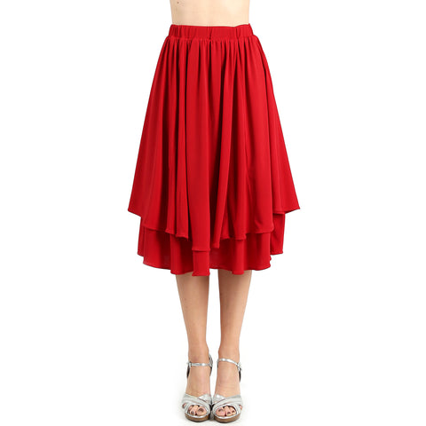 Evanese Women's Double Layer Contemporary A-line Godet Skirt with Elastic Waist S, Red