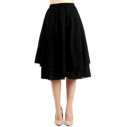 Evanese Women's Cotton Layered Scoop Top Layer Godet Contemporary A Line Skirt S, Black