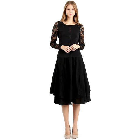 Evanese Women's Cotton Layered Scoop Top Layer Godet Contemporary A Line Skirt XS, Black
