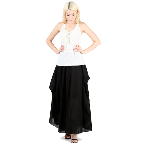 Evanese Women A Line Full Length Maxi Long Adjustable Pick Up Bubble Godet Skirt XS, Black