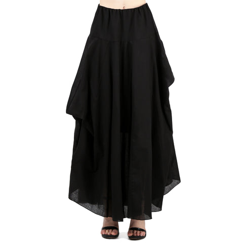 Evanese Women A Line Full Length Maxi Long Adjustable Pick Up Bubble Godet Skirt S, Black