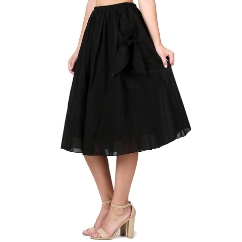 Evanese Women's Cotton Knee Length A Line Skirt with Front Pockets with Ribbon XS, Black