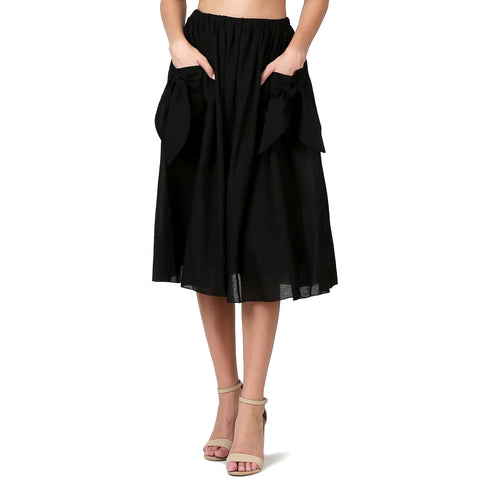 Evanese Women's Cotton Knee Length A Line Skirt with Front Pockets with Ribbon S, Black