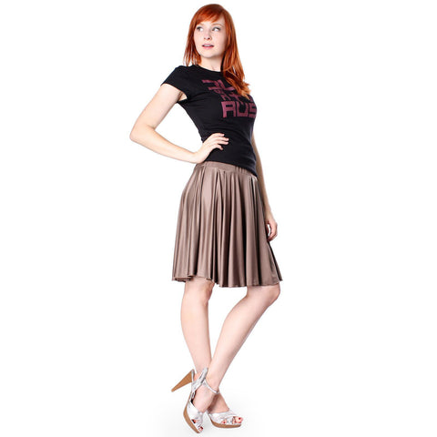 Evanese Women's Shiny Venezian Yoke Skirt with Uneven Pleats - ellemore.com