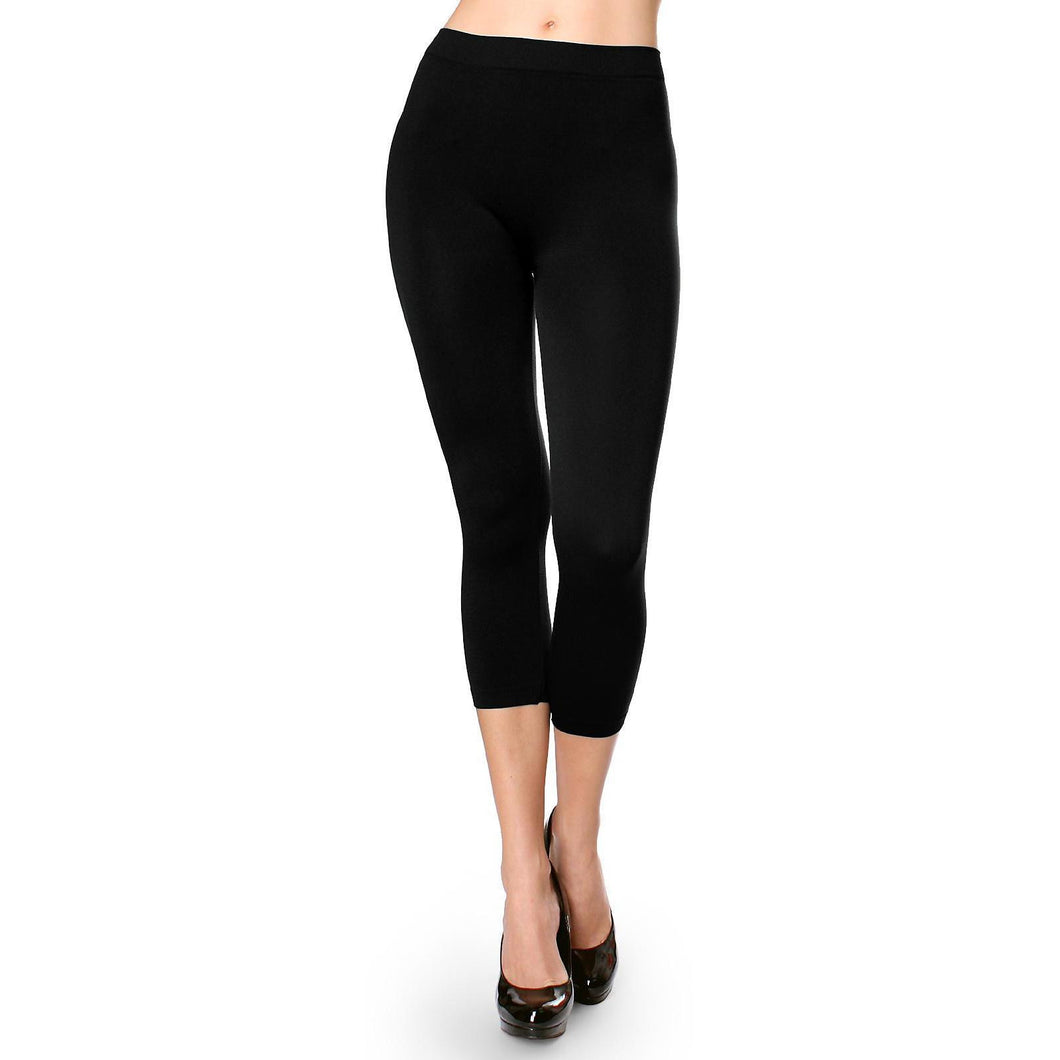 Lady's Tight Skinny One Size Solid 3/4 Leggings Stretch Sexy Pencil Pants - ellemore.com