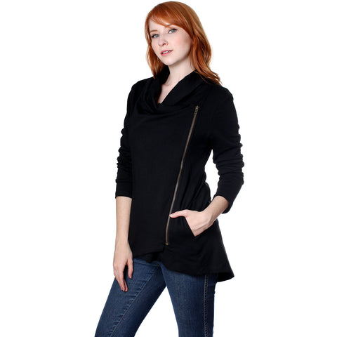 My Beloved Women's Cotton Spandex Cowlneck Collared Long Sleeve Jacket - ellemore.com