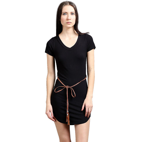 New Women's 8 x 5 Rib V Neck Short Sleeve with Belt Long Top Skinny Mini Dress - ellemore.com