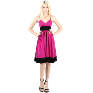 Evanese Women's Sleeveless Empire Waist Fit and Flare A-Line Cocktail Dress S, Orchid/Black