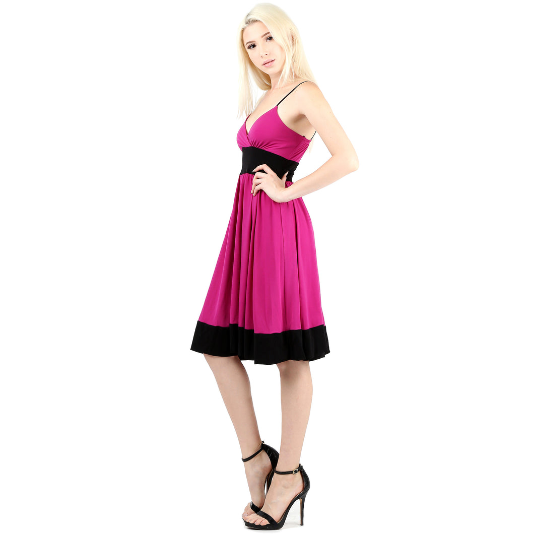 Evanese Women's Sleeveless Empire Waist Fit and Flare A-Line Cocktail Dress XS, Orchid/Black
