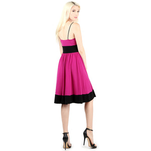Evanese Women's Sleeveless Empire Waist Fit and Flare A-Line Cocktail Dress M, Orchid/Black