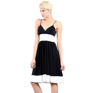 Evanese Women's Fashion Color Blocking Jersey Casual Cocktail Party Dress XS, Black/Creme