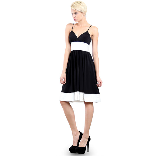 Evanese Women's Fashion Color Blocking Jersey Casual Cocktail Party Dress S, Black/Creme