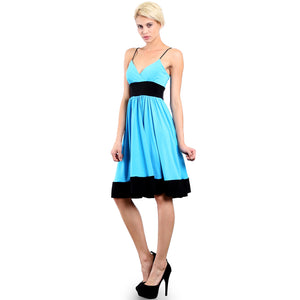 Evanese Women's Fashion Color Blocking Jersey Casual Cocktail Party Dress XL, Turquoise/Black