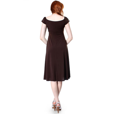Evanese Women's sweetheart cap sleeve knee length day dress with satin trims - ellemore.com
