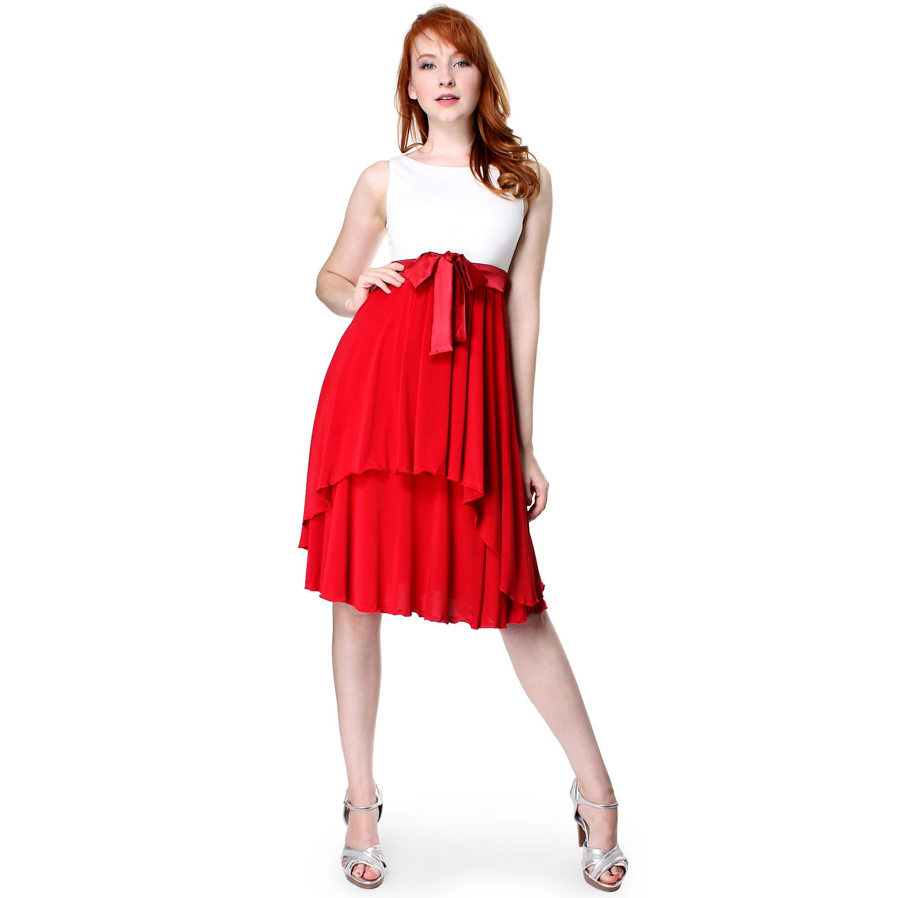 Evanese Women\'s Cute Sleeveless Fit and Flare Pleated Knee Length ...
