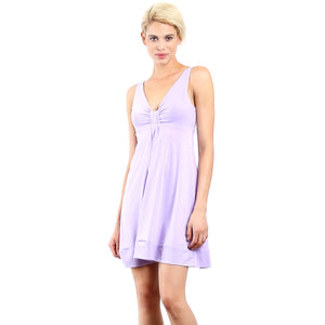 Evanese Women's Short V-neck Dress with Gathering in Center XS, Lavender