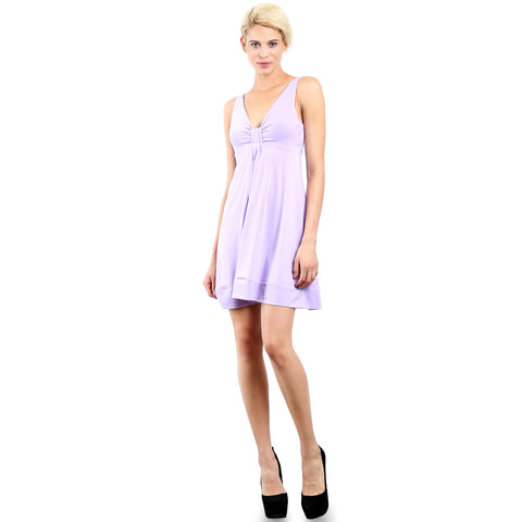 Evanese Women's Short V-neck Dress with Gathering in Center S, Lavender