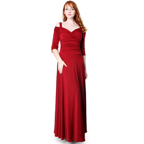 Evanese Women's Elegant Slip On Long Formal Evening Dress with 3/4 Sleeves - ellemore.com