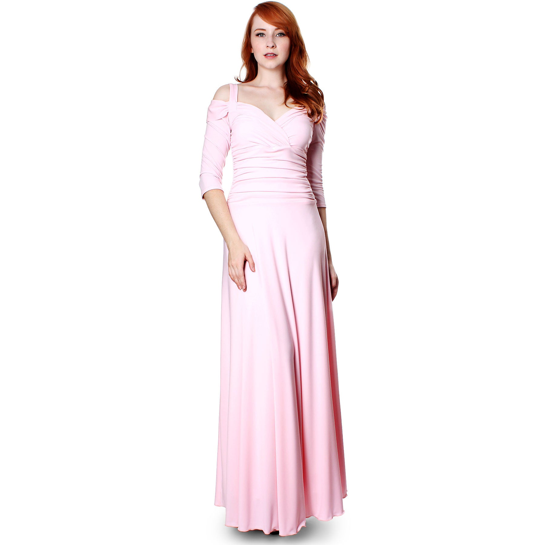 Evanese Womens Elegant Formal Long Evening Dress With 34 Sleeves