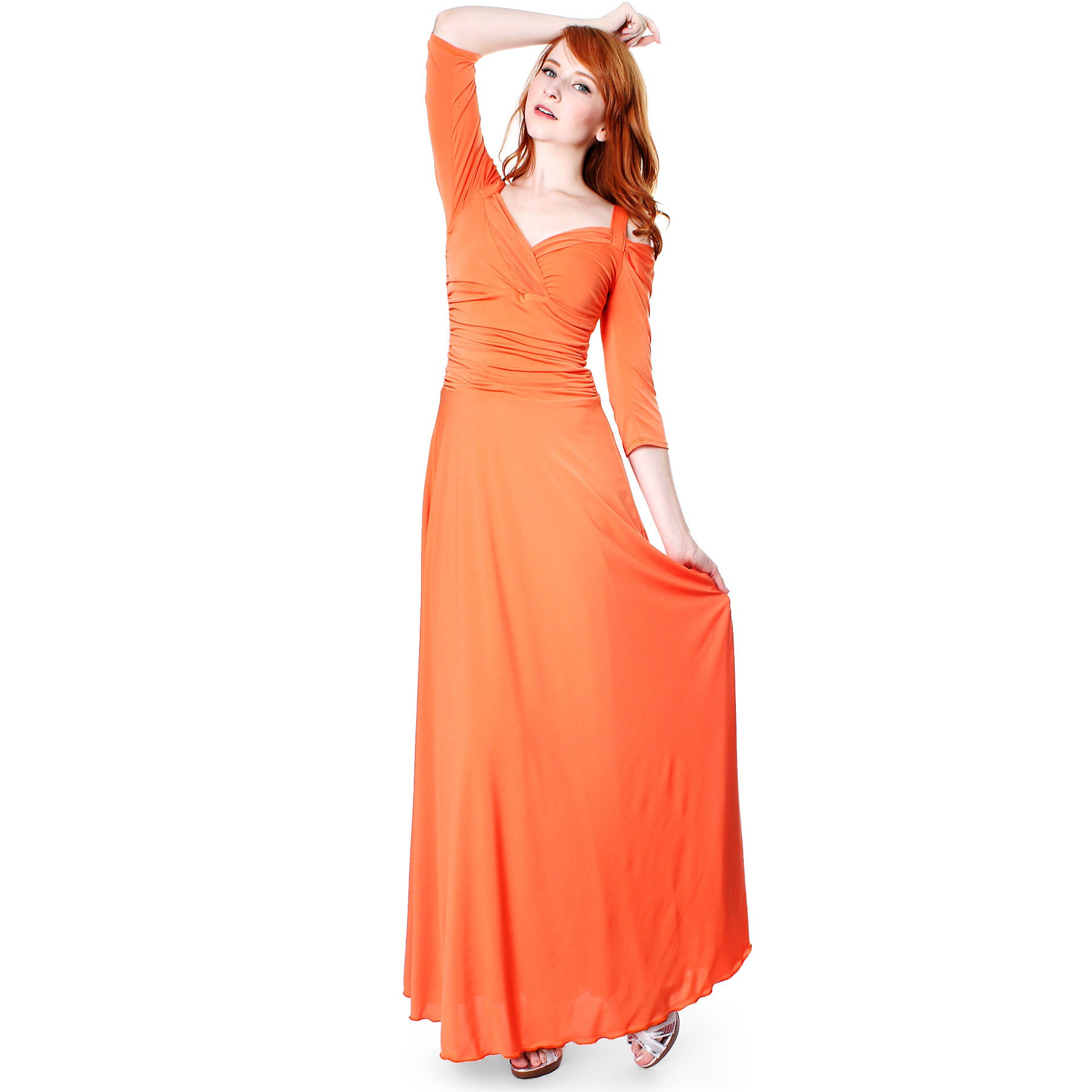 Evanese Women s Elegant Formal Long Evening Dress With 3 4 Sleeves ... cc462dad8