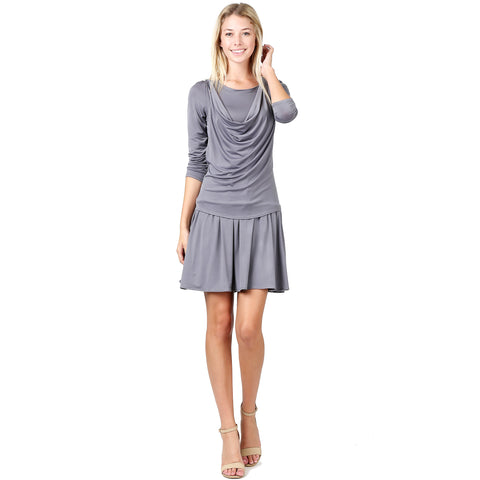 Evanese Women's Short Cowlneck Tank A Line Day Casual 2 Piece Long Sleeve Dress XS, Black