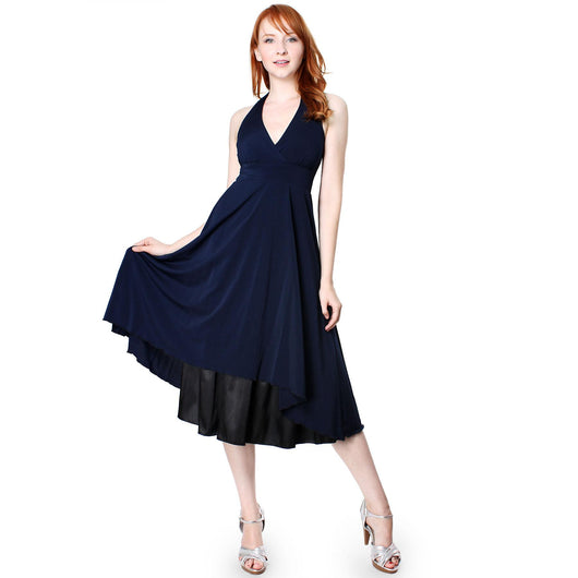 Evanese Women's Polyester Sexy Deep V Halter Neck A Line Cocktail Dress - ellemore.com