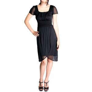 Evanese Women's Pleated Faux Wrap Dress with Short Sleeves - ellemore.com
