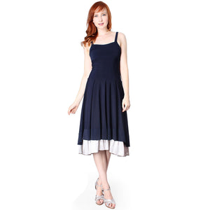 Evanese Women's Double Layered Sophisticated Cocktail A Line Dress - ellemore.com