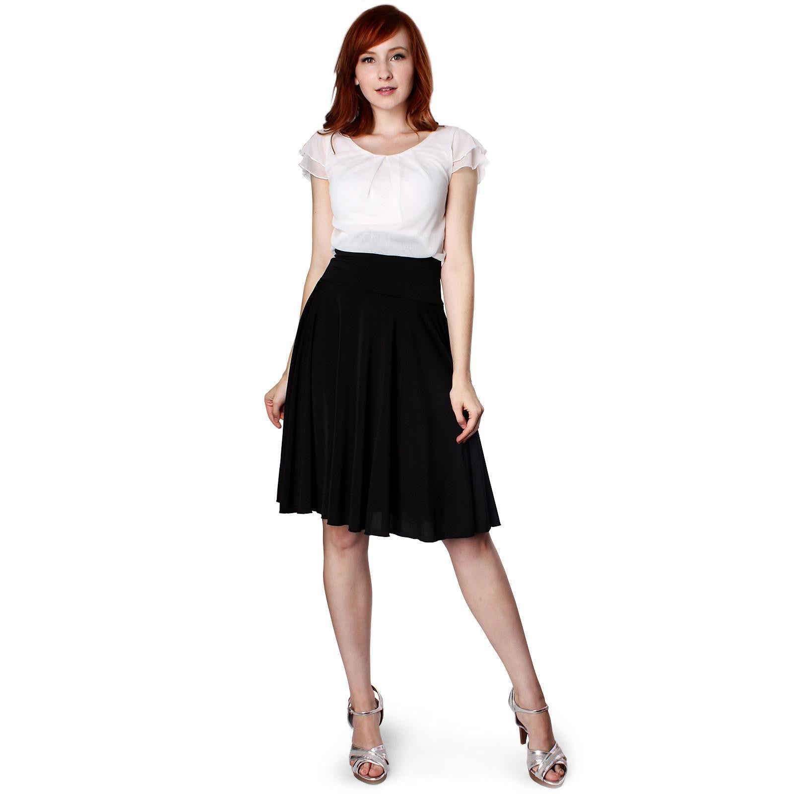 Evanese Women's Double Sleeves PleatTop and A Line Circle Skirt Cocktail Dress - ellemore.com
