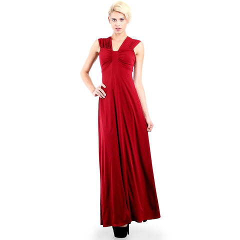 Evanese Women's Elegant Long Evening Party Gown Dress with Wide Shoulder Bands XS, Wine