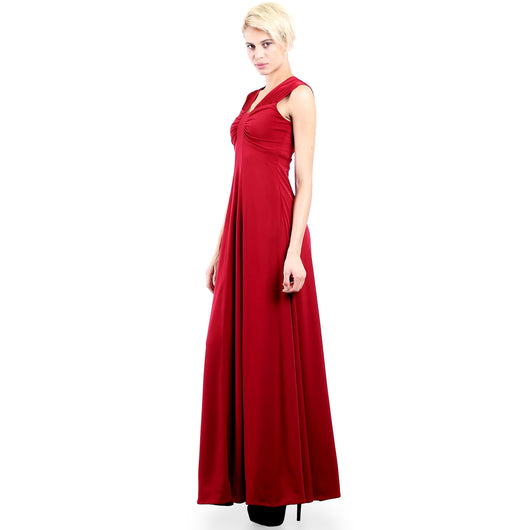 Evanese Women's Elegant Long Evening Party Gown Dress with Wide Shoulder Bands S, Wine