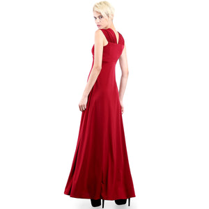 Evanese Women's Elegant Long Evening Party Gown Dress with Wide Shoulder Bands M, Wine