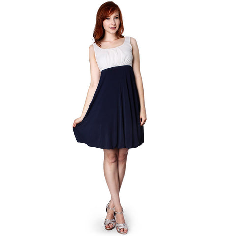 Evanese Women's Inverted Pleat Top Bubble Skirt Short A Line Cocktail Day Dress - ellemore.com