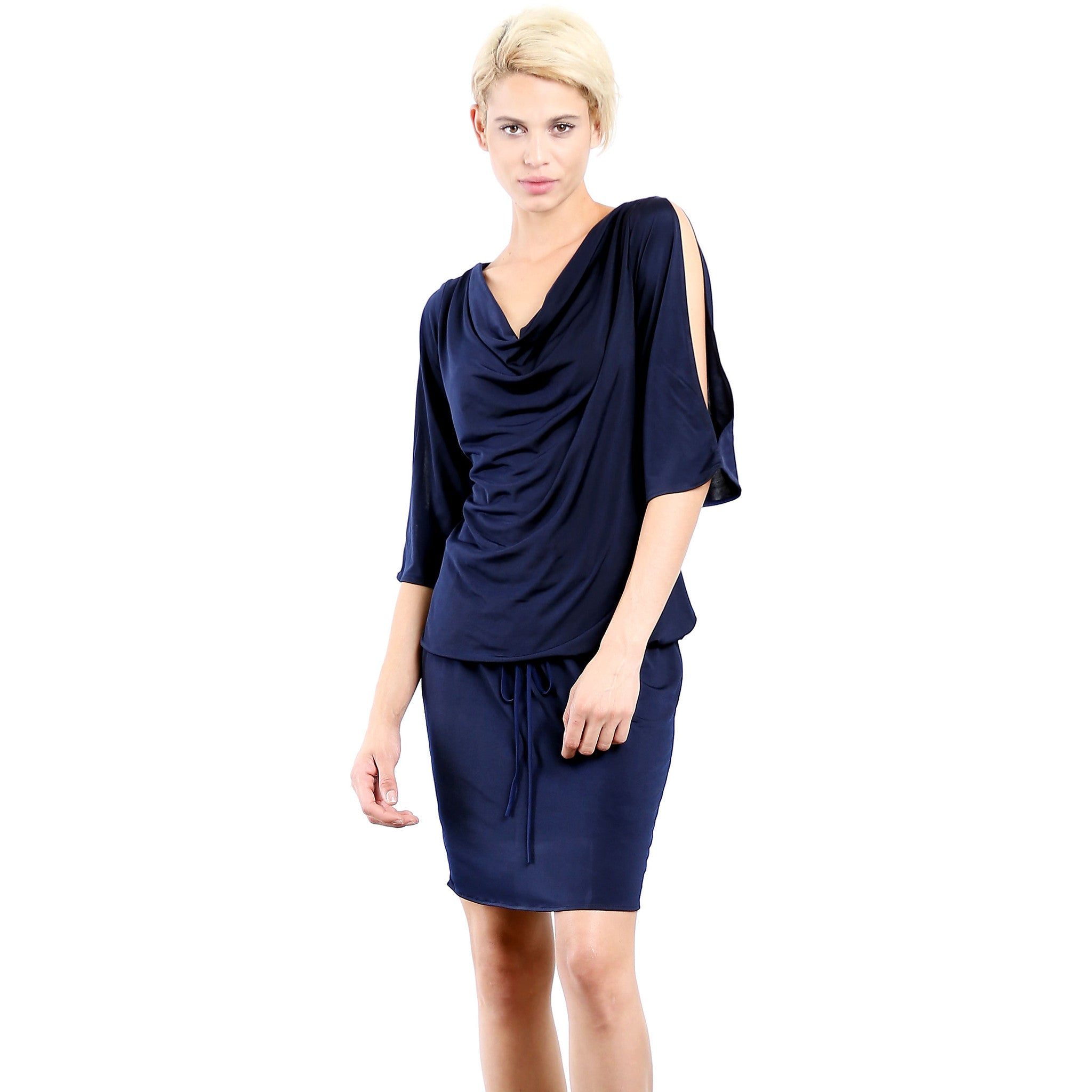 Evanese Women's Sexy Cowlneck Day Work Weekend Cocktail Dress with Slit-Sleeves XS, Navy