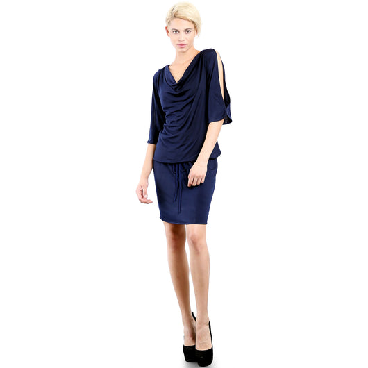 Evanese Women's Sexy Cowlneck Day Work Weekend Cocktail Dress with Slit-Sleeves S, Navy