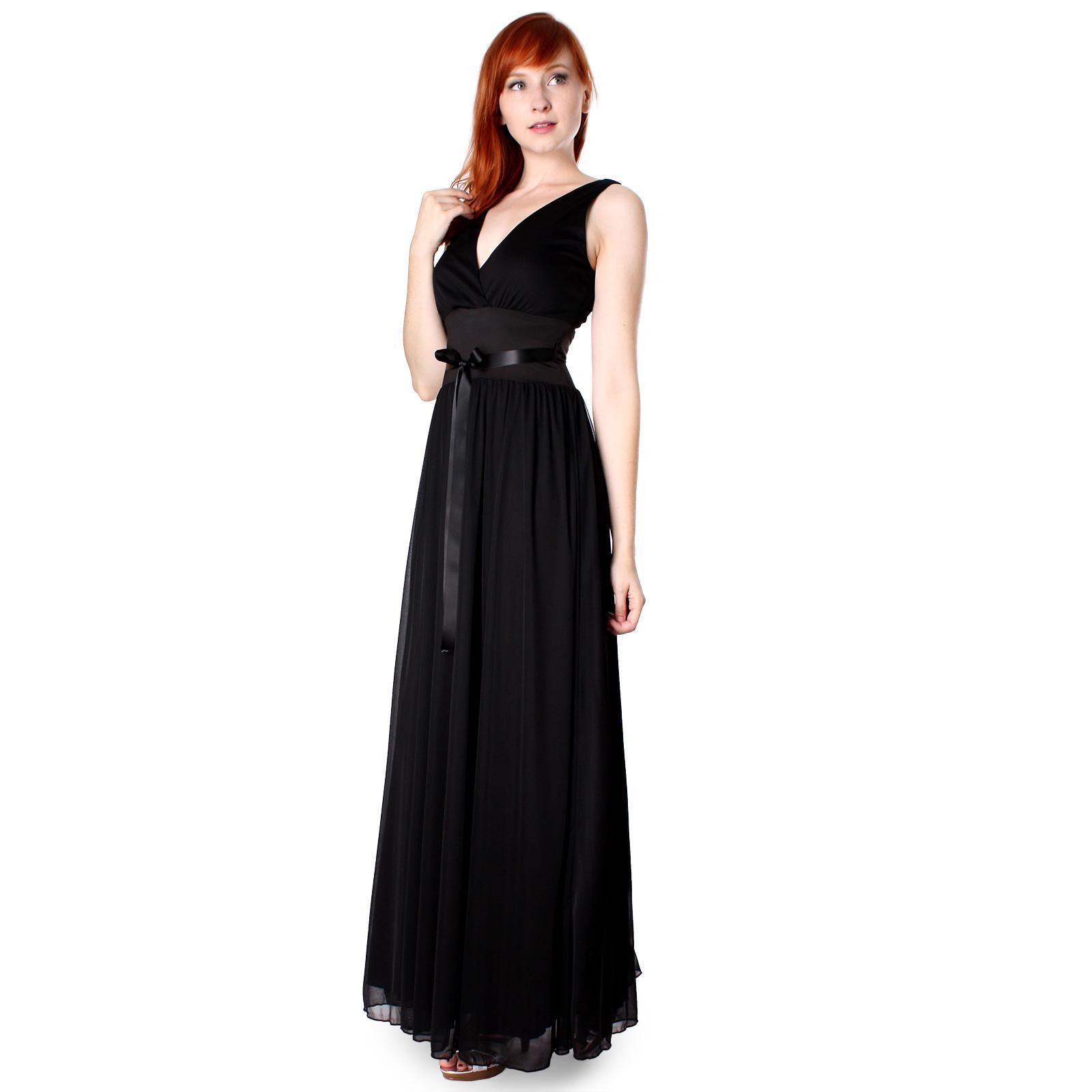 Evanese Women's Chiffon Matte Jersey Elegant Long Dress with Satin Tape - ellemore.com
